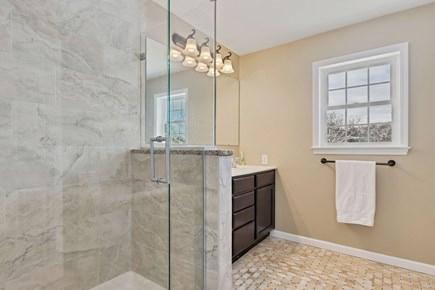 Orleans Cape Cod vacation rental - Master bathroom with spa shower and jacuzzi tub