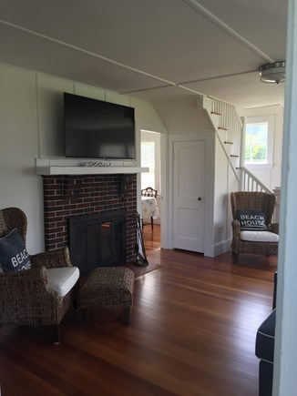 West Yarmouth Cape Cod vacation rental - Cozy living room with Roku TV and fireplace