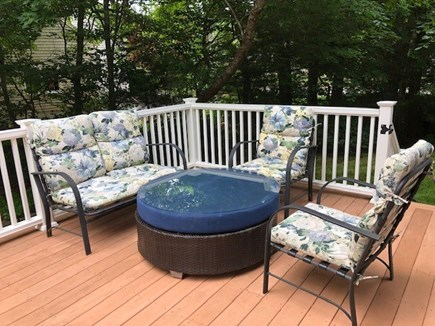 Mashpee Cape Cod vacation rental - The private deck is perfect mixture of sun and shade.