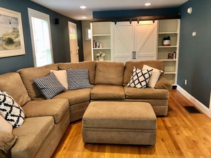 Mashpee Cape Cod vacation rental - Livingroom w/ xl comfy cozy sectional  perfect for your family.