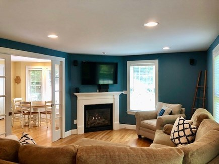 Mashpee Cape Cod vacation rental - Enjoy the gas fire place while watching a movie on the 50 inch TV