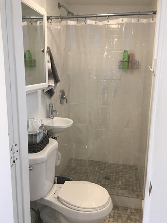 Provincetown Cape Cod vacation rental - Bathroom with storage, shower, and window