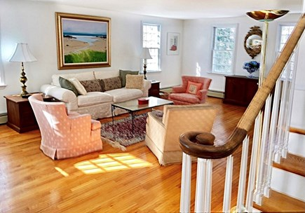 East Orleans/Nauset Beach Cape Cod vacation rental - Living Room from front door and stairs to bedrooms.