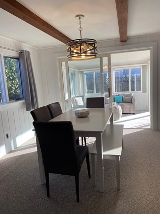 Falmouth Cape Cod vacation rental - Dining room with table and chairs that comfortably seats 7.