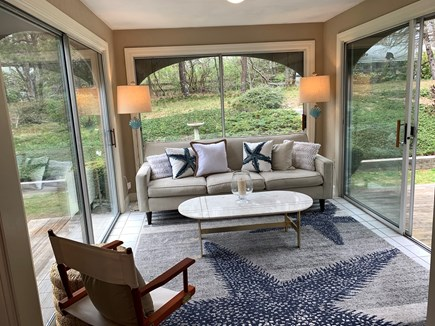 Cotuit Cape Cod vacation rental - Sunroom with sliders to deck