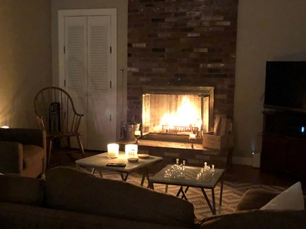 Cotuit Cape Cod vacation rental - Living Room w/ woodburning fireplace