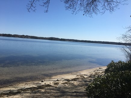 Centerville -Lake Wequaquet Cape Cod vacation rental - Walk down off deck to beautiful beach to enjoy swimming and lake.