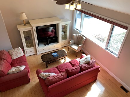 New Silver Beach N. Falmouth Cape Cod vacation rental - View of the living room from upstairs.