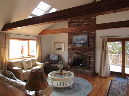 West Dennis Cape Cod vacation rental - Cathedral Ceiling Living room w/skylights and beams