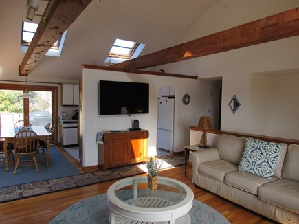 West Dennis Cape Cod vacation rental - Cathedral Ceiling Living room w/skylights, beams, Flat screen TV
