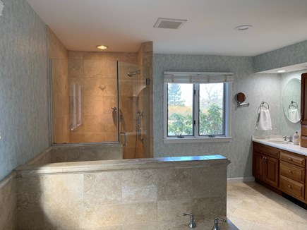 Orleans Cape Cod vacation rental - Spacious Master bathroom with walk in shower and double sink