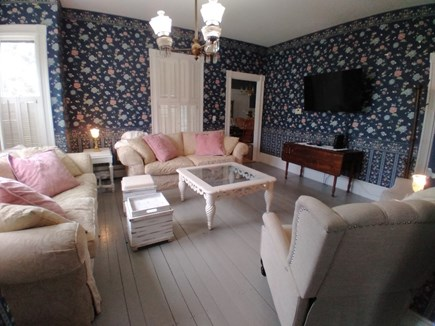 """Dennis Cape Cod vacation rental - Living room two sofas, two reclining wing backs, 50"""" TV"""
