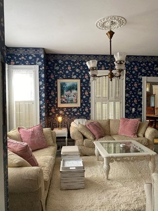 """Dennis Cape Cod vacation rental - Living room so cozy! Two down sofas two wing recliners, 50"""" TV"""