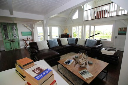 Wellfleet Cape Cod vacation rental - Living room w/sectional & large flat screen TV in main house