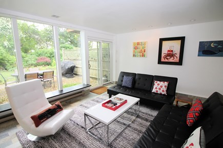 Provincetown Cape Cod vacation rental - Cozy living room with door to patio