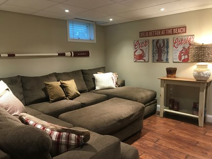 Harwich Cape Cod vacation rental - Lower level comfortable family room with large flat screen TV