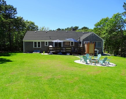 Harwich Cape Cod vacation rental - Large back yard - great for kids - showing new outdoor shower