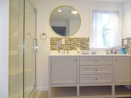 Eastham Cape Cod vacation rental - Master bath with double sinks, large walk in shower