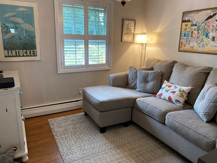 Chatham Cape Cod vacation rental - Cozy den with chaise sofa and large-screen TV.