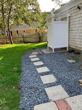 South Dennis Cape Cod vacation rental - Bluestone pave way leading to new outdoor shower.