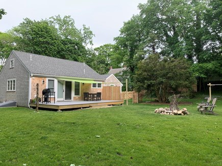 Brewster Cape Cod vacation rental - Private backyard with outdoor shower, fire pit and sun shade