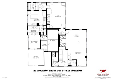 Wareham MA vacation rental - First floor plan.