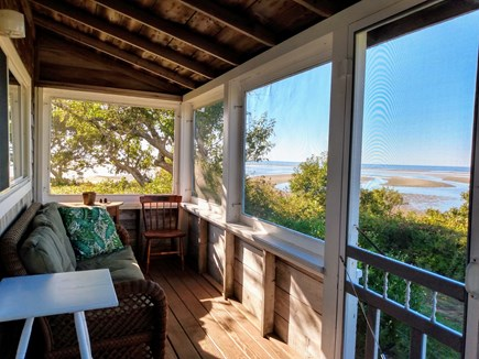 Brewster Cape Cod vacation rental - Eat in Porch with fabulous views of the beach and bay.