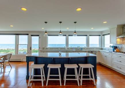 Falmouth Cape Cod vacation rental - Kitchen - freshly painted walls, island and hand painted stools