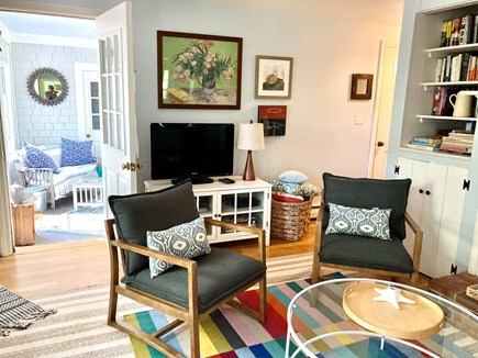 Wellfleet Cape Cod vacation rental - View from the dining room: TV, chromecast, great wifi!