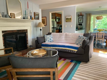 Wellfleet Cape Cod vacation rental - New comfy couch, view from the entrance/screened-in porch.