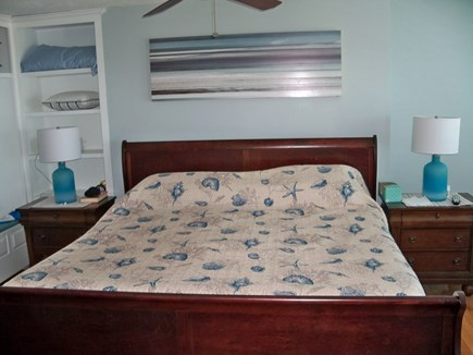 Plymouth MA vacation rental - Large master king bed en suite and small balcony with ocean views