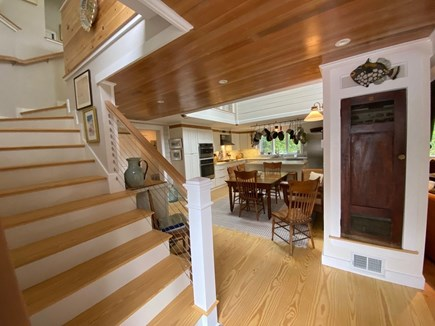 Eastham Cape Cod vacation rental - Entrance looking up to second floor, wood ceiling