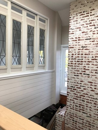 Eastham Cape Cod vacation rental - Detail of sliding windows of den made from antique leaded glass
