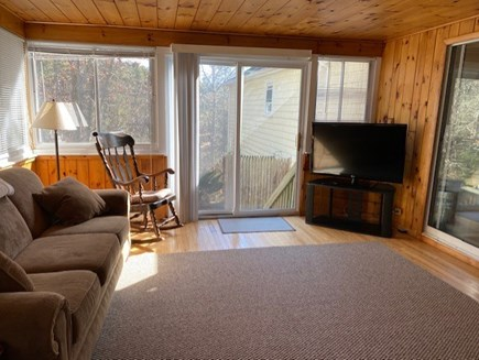 East Dennis Cape Cod vacation rental - Family/TV room with pond views