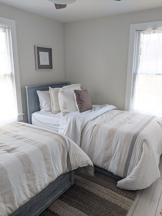 Dennis - Bayview Beach  Cape Cod vacation rental - Bedroom with 2 twin beds, ceiling fan, closet, dresser