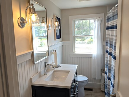 Dennis - Bayview Beach  Cape Cod vacation rental - Full bathroom with nautical touches