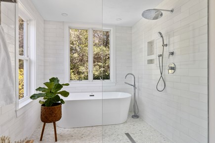 West Barnstable Cape Cod vacation rental - Shower room with soaking tub in the master bath