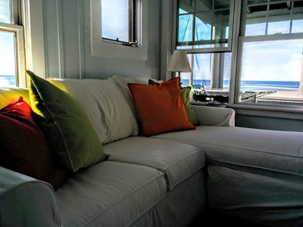 Brewster Cape Cod vacation rental - Living room at Low tide. Gorgeous beach views