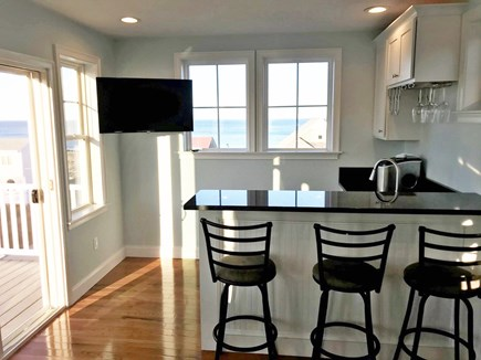 Plymouth MA vacation rental - Third floor bar with ocean views, opens up to roof top deck
