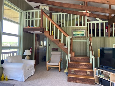 Chatham Cape Cod vacation rental - View of the loft from living room. Queen on left; twin on right.