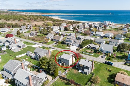 Sandwich Cape Cod vacation rental - Aerial of house looking towards Cape Cod Canal