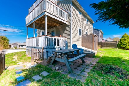 Sandwich Cape Cod vacation rental - Side and back view, showing decks and patio