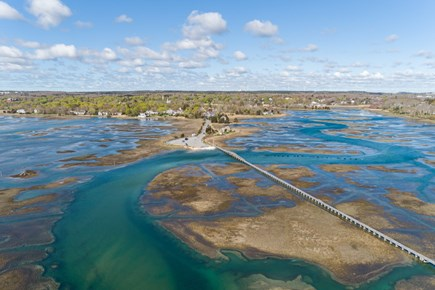 Sandwich Cape Cod vacation rental - Aerial of Boardwalk looking back towards houses in Town Neck
