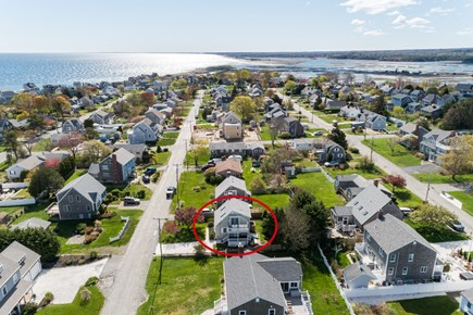 Sandwich Cape Cod vacation rental - Aerial of house looking towards Sandwich Boardwalk and beach