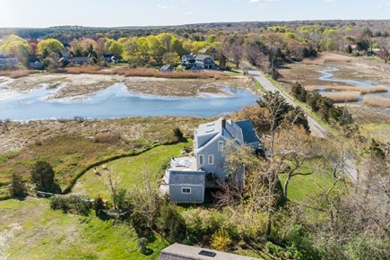 Sandwich Cape Cod vacation rental - Aerial of house, surrounded by salt marshes