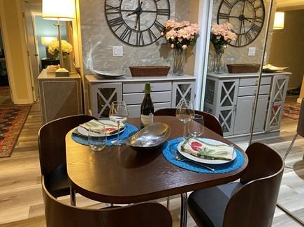 Provincetown Cape Cod vacation rental - Romantic dining; table settings for 4 inside.