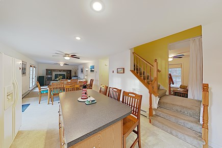 Brewster Cape Cod vacation rental - Living Area, Dining for up to 12 people & 2nd Floor Stairs