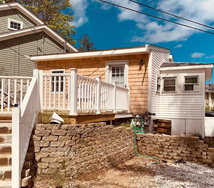 Bourne, Buzzards Bay Cape Cod vacation rental - Front steps leading to spacious front deck and entrance.