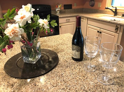 Harwich Cape Cod vacation rental - Relax w/ a glass of wine and beautiful flowers from the garden.