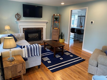 Brewster Cape Cod vacation rental - Living room with gas fireplace and TV with built-in Roku